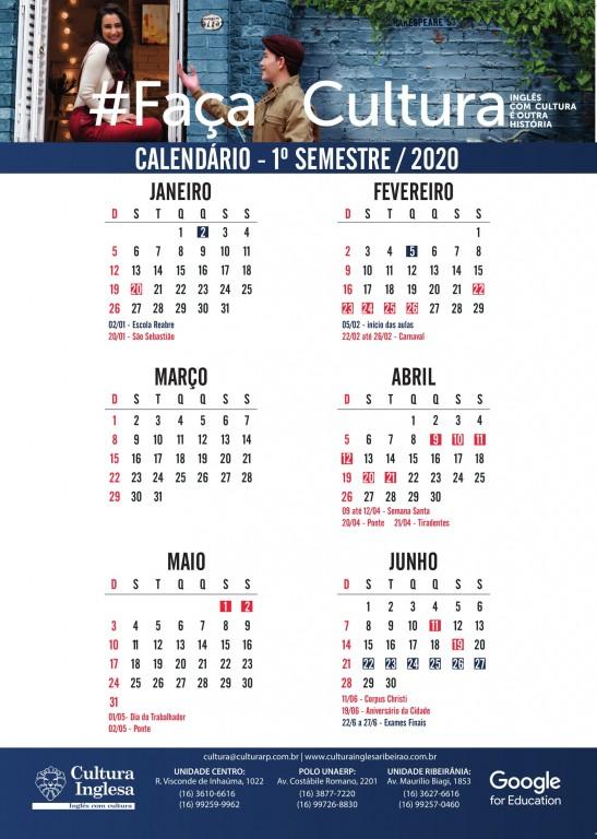 Calendário Geral 1º Semestre
